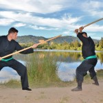 Outdoor Japanese weapons training at Bujinkan Sonoma Dojo